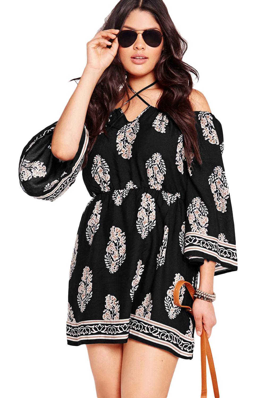 Plus Size Floral Print Bardot Neck Black Off-shoulder Dress