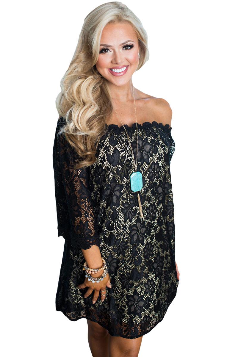 Black Off The Shoulder 34 Sleeve Floral Lace Dress