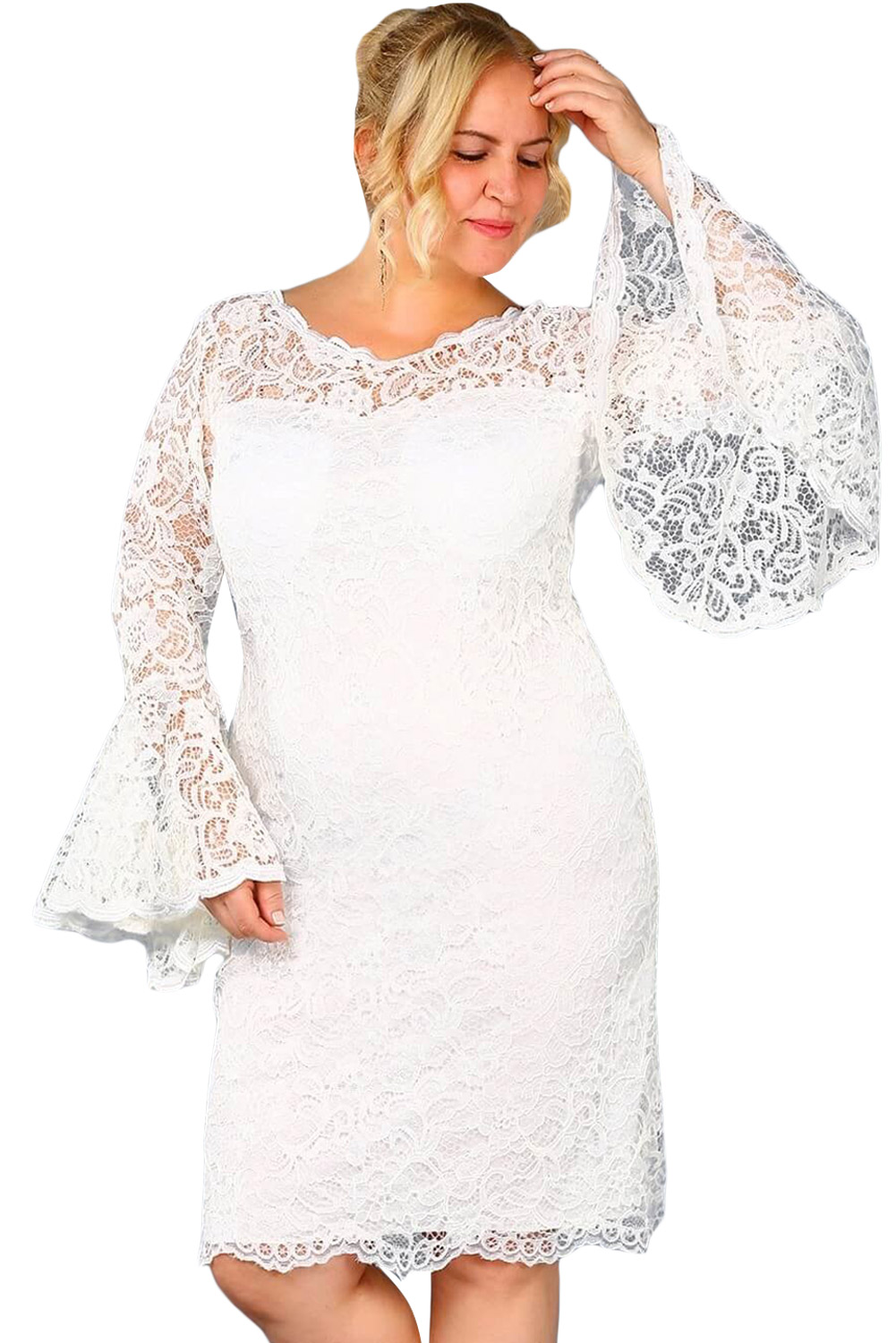 White Plus Size Flared Sleeve Lace Dress