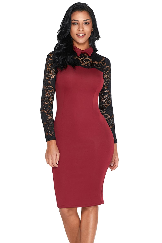 Burgundy Lace Sleeve Doll Collar Bodycon Retro Midi Dress