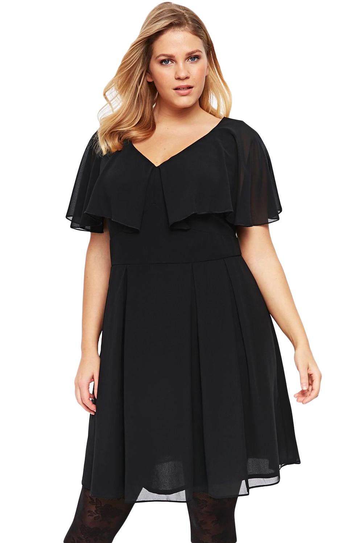 Black Plus Size Floaty Skater Dress