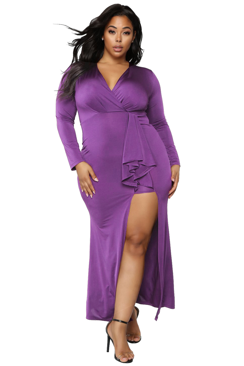 Purple Surplice Long Sleeve Plus Size Dress