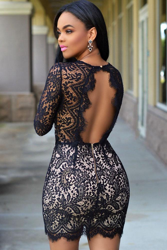 c55e1fae5 Sexy Womens Black Lace Nude Mini Dress Wholesale
