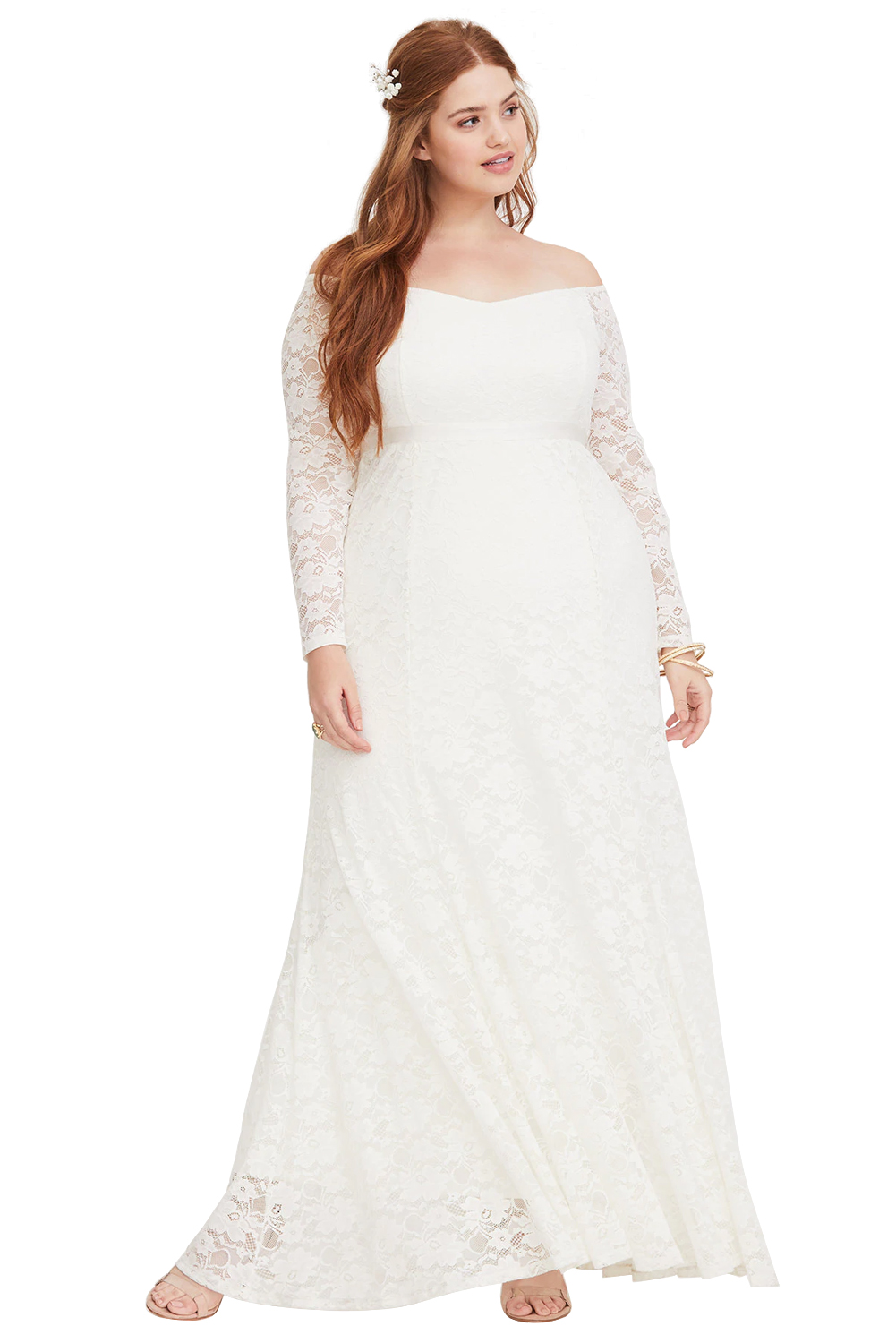 Special Occasion Plus Size White Lace Gown