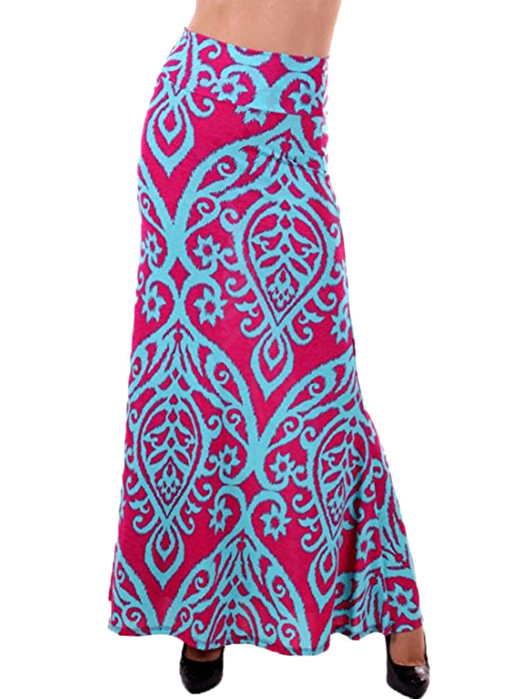 b4298225f Falda Larga Rosada Con Estampado Azul De Tendril