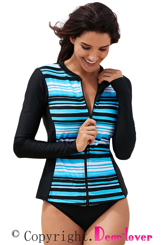 Womens Swimwear Swimsuit WhiteTropical Sketch Long-Sleeve Zipper Front Swim Top