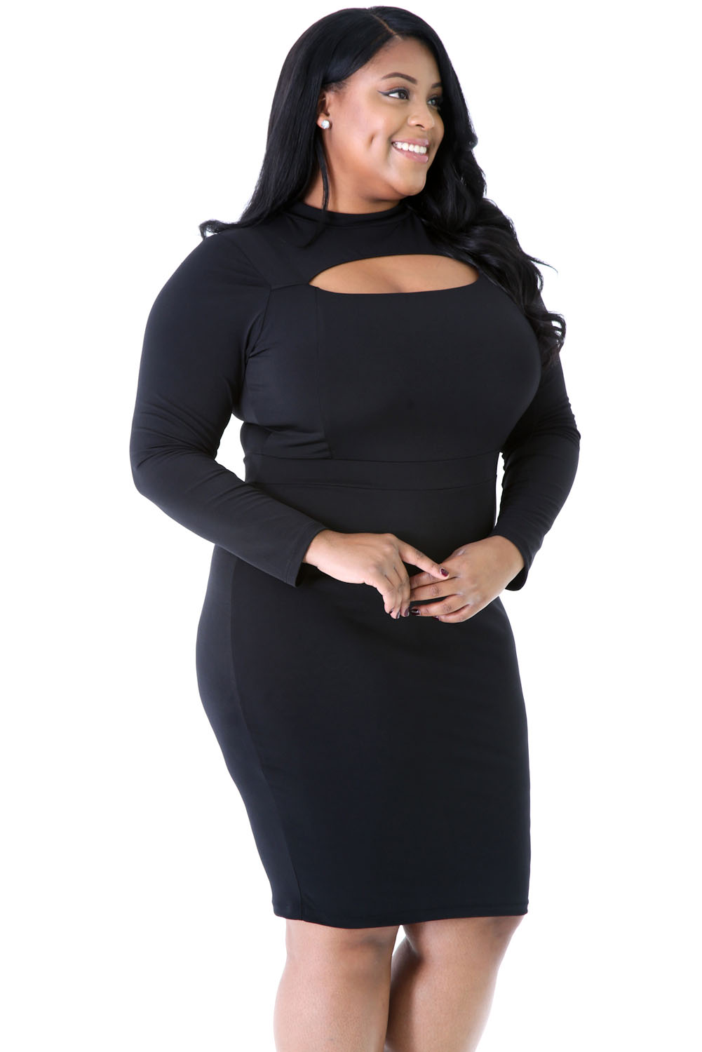 Black Long Sleeve Keyhole Bodycon Plus Size Dress
