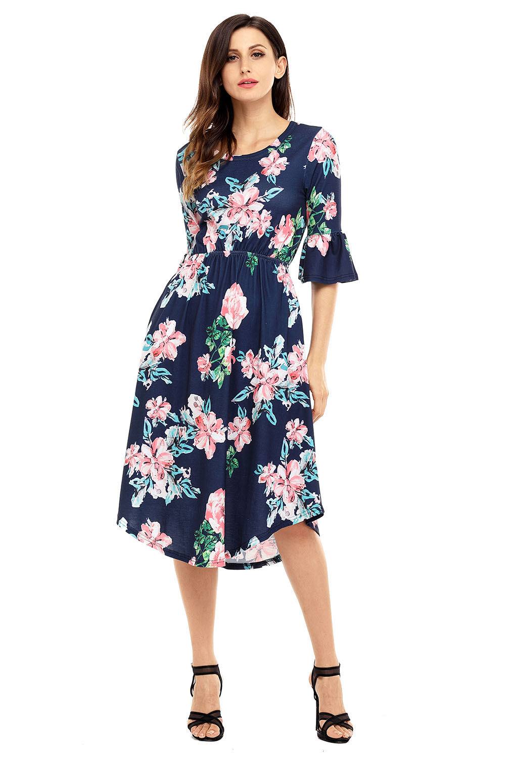 1c50ecdc241a Navy Blue 3/4 Bell Sleeve Floral Midi Dress Wholesale