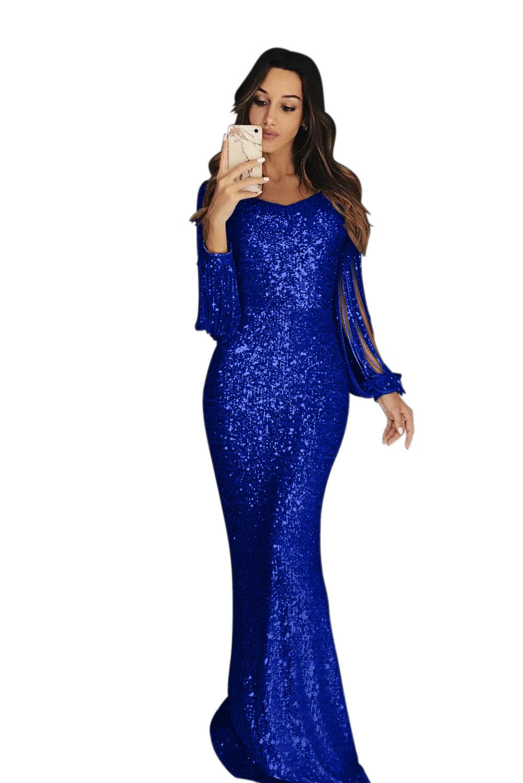 quality design ac4de 982ff Maxi abito da sera blu con paillettes a frange