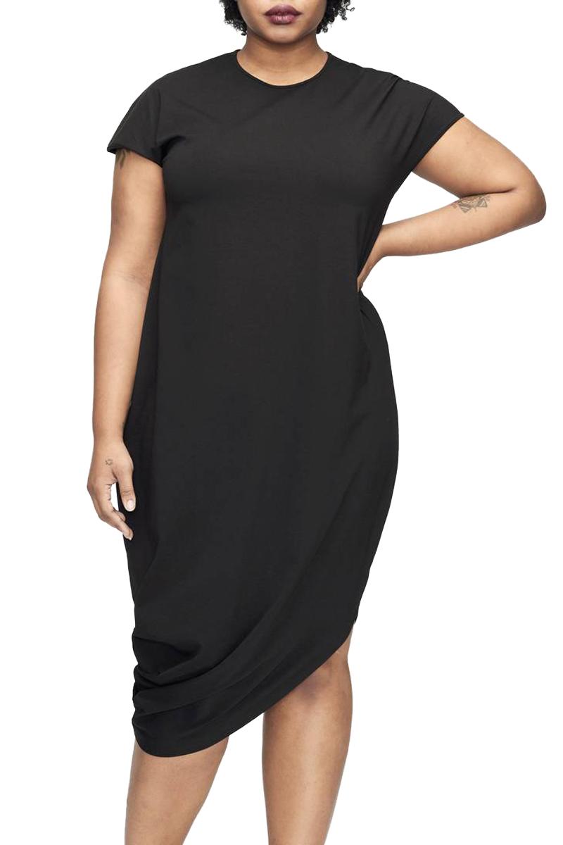 Black Short Sleeve Asymmetrical Hem Plus Size Dress