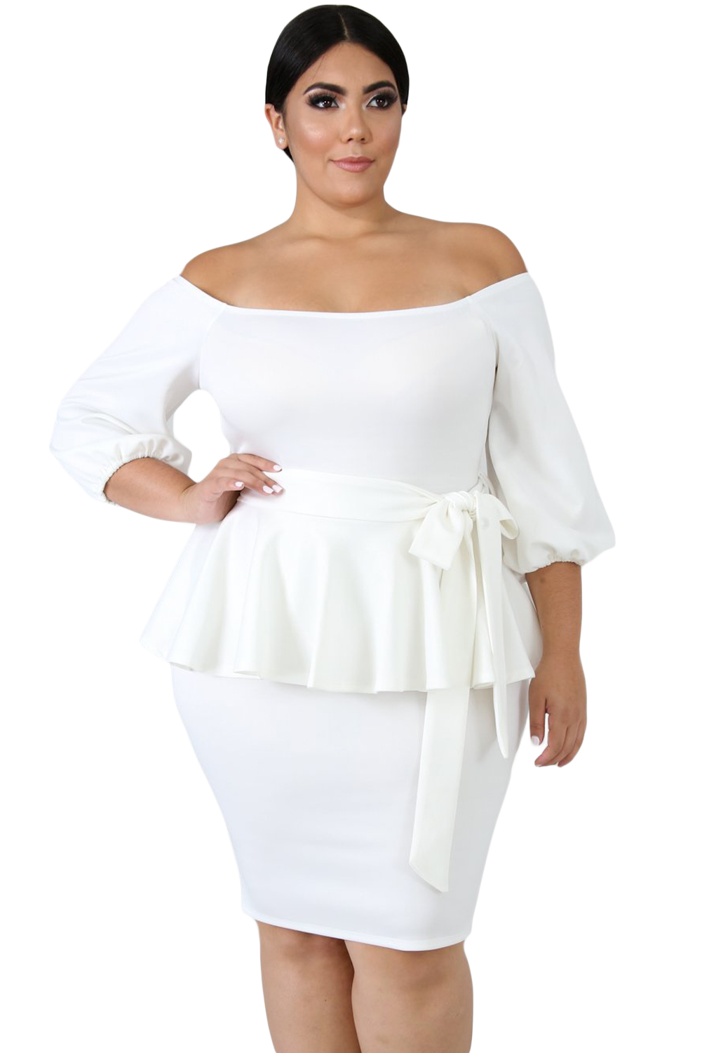 White Sash Tie Plus Size Peplum Dress
