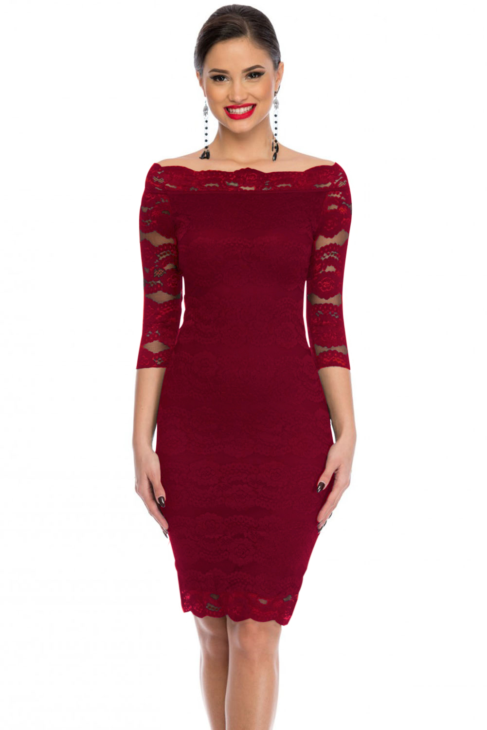 Burgundy Lace Scalloped Off Shoulder Midi Dress