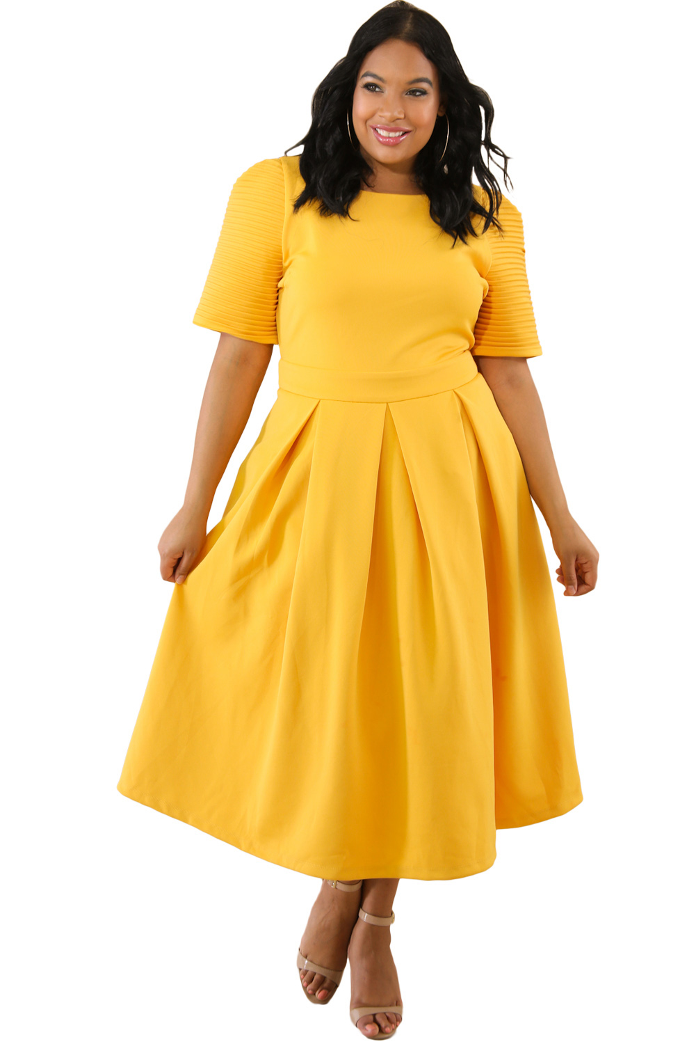Yellow Plus Size Pleat Flare Dress