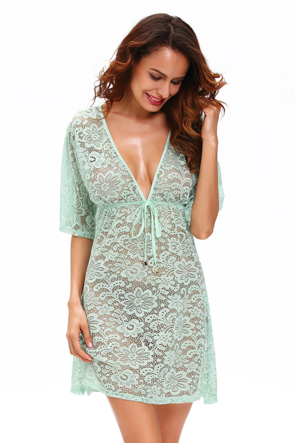 Bluish Green See Through Lace Cover Up Dress