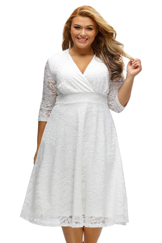 White Plus Size Surplice Lace Formal Skater Dress
