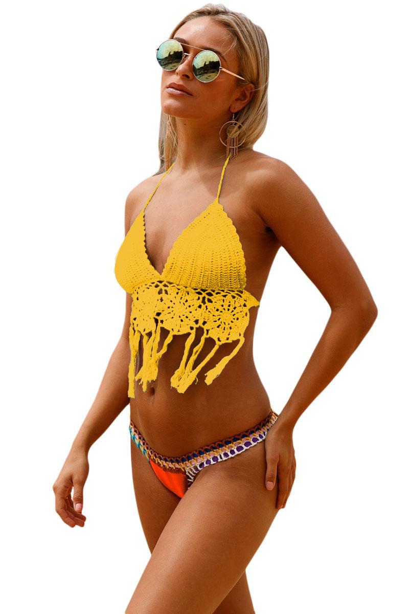 Shop für neueste große Auswahl an Farben am besten auswählen Gelbes Häkel-Bikini-Oberteil mit Neopren-Unterteil