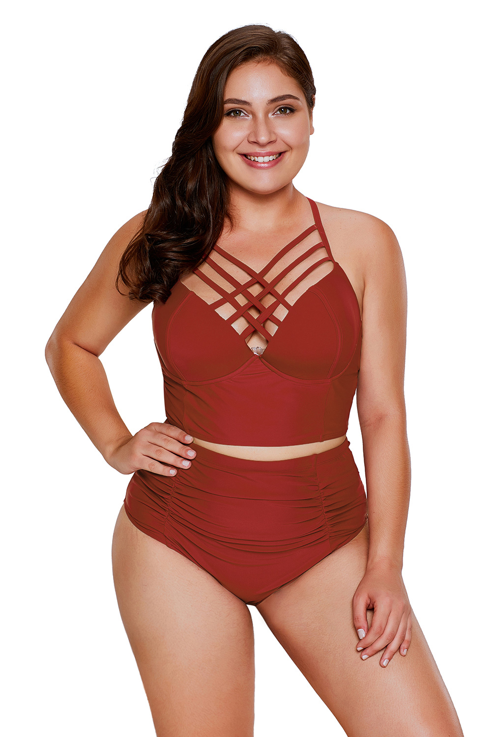 28372fd1c3 Red Strappy Neck Detail High Waist Swimsuit Online