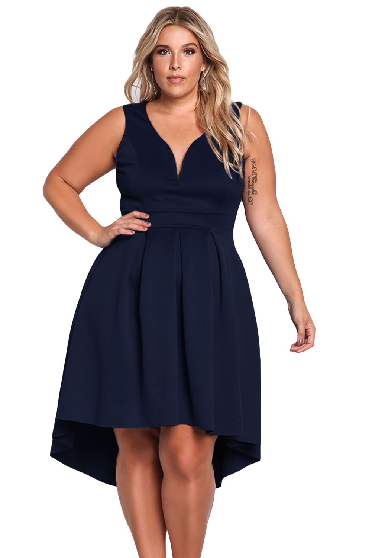 Navy Sleeveless V Neck Plus Size Hi-lo Dress