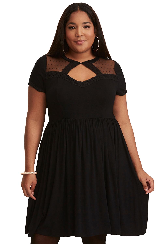 Black Dot Mesh Inset Plus Size Skater Dress