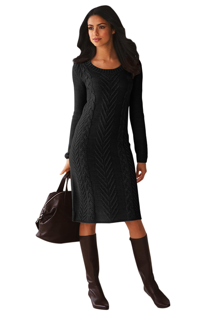 eb0a5120298 Black Women's Hand Knitted Sweater Dress