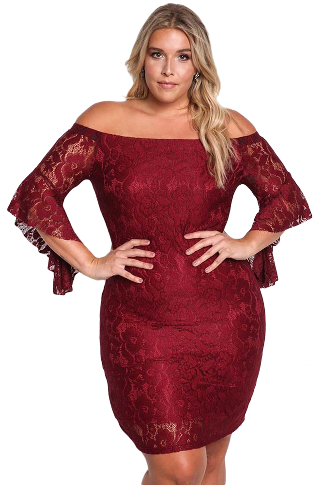 Burgundy Plus Size Off Shoulder Lace Bodycon Dress