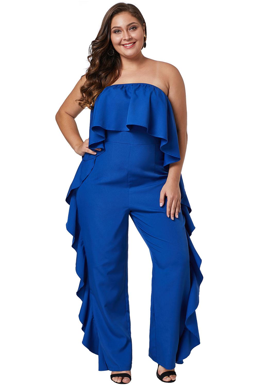 Cobalt Blue Prime Dreams Plus Size Strapless Ruffle Jumpsuit
