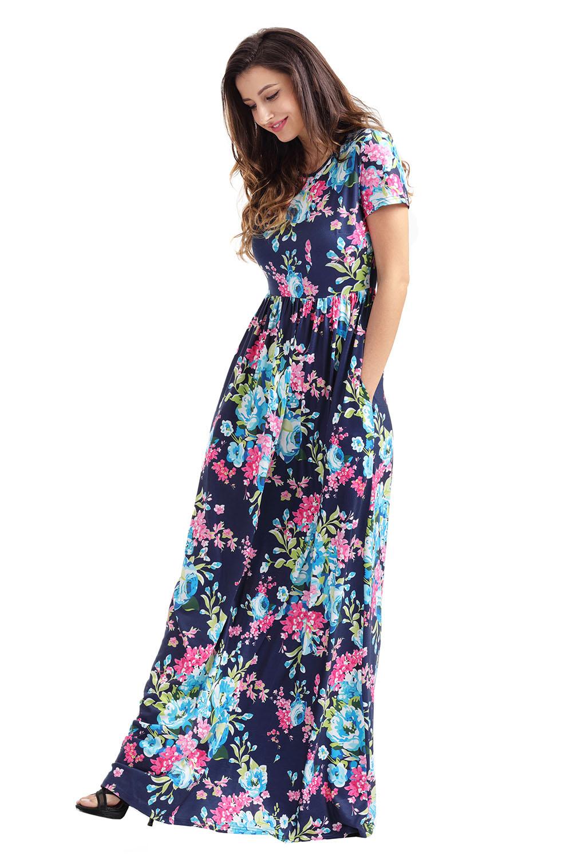 26a4323b9eb887 Stylish Pocket Design Short Sleeve Bright Blue Floral Maxi Dress