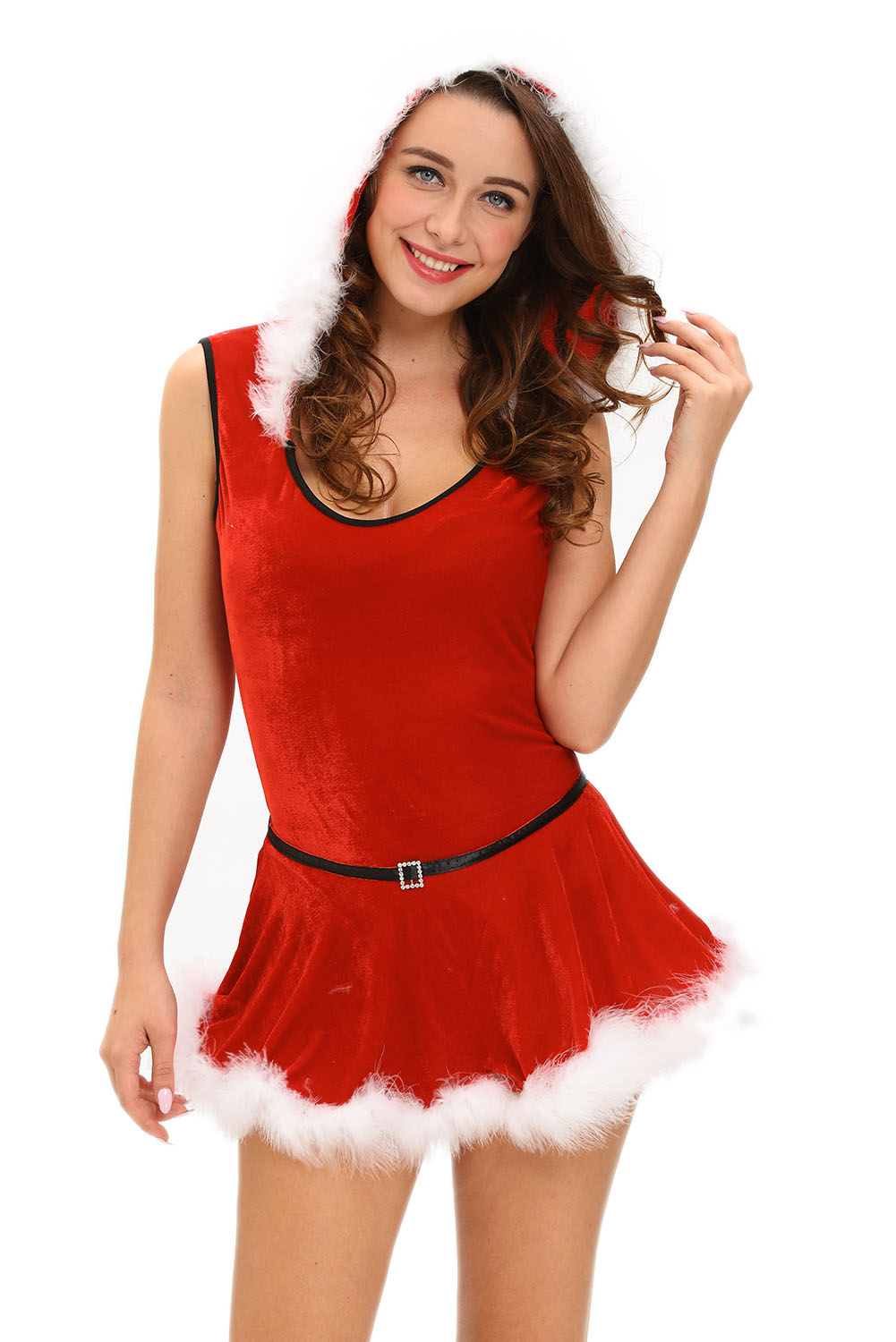 Plus Size Christmas Costumes.Plus Size Soft Fur Trim Red Santa Teddy And Skirt Christmas Costume