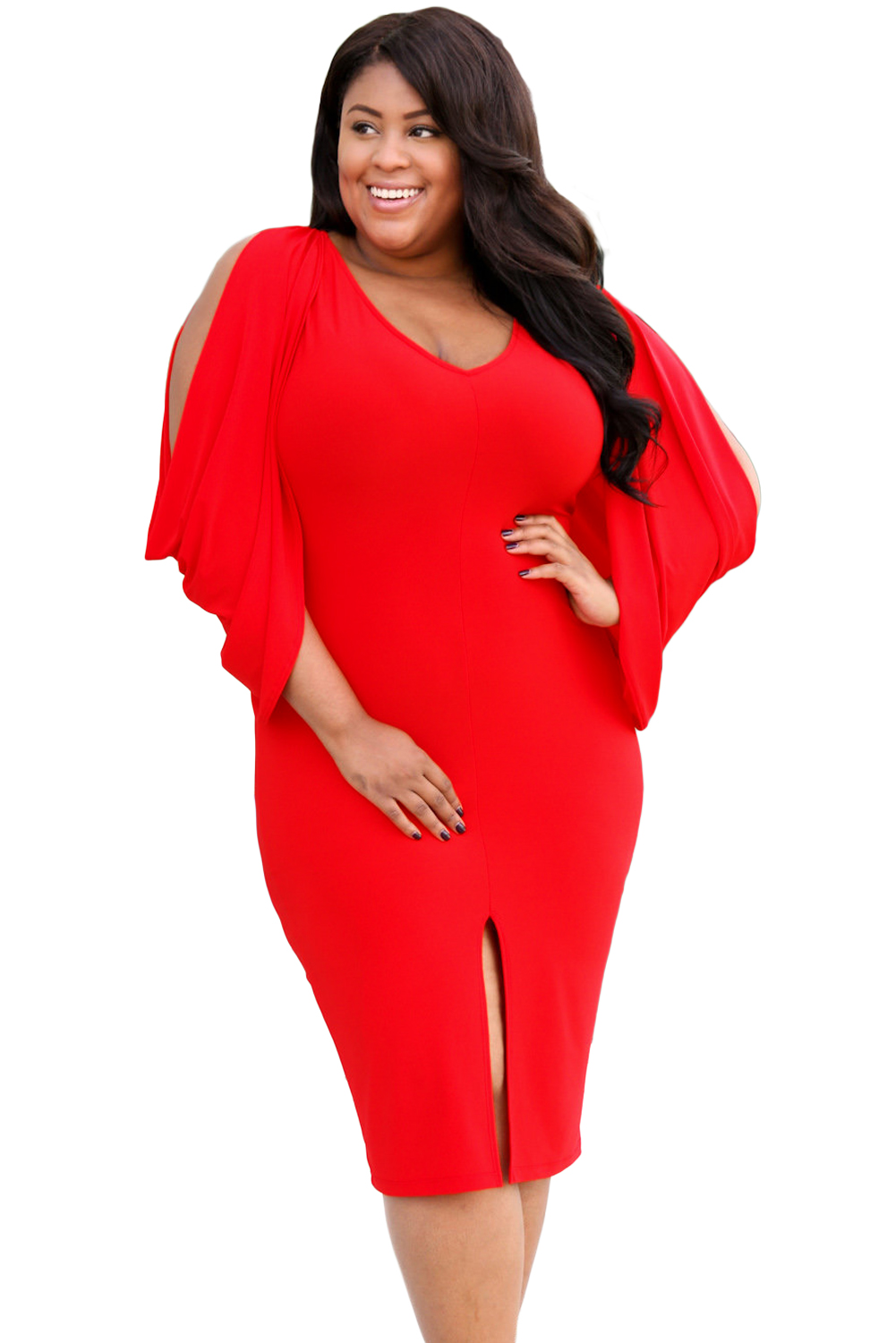 Red Cascading Slit Sleeve Bodycon Plus Size Dress