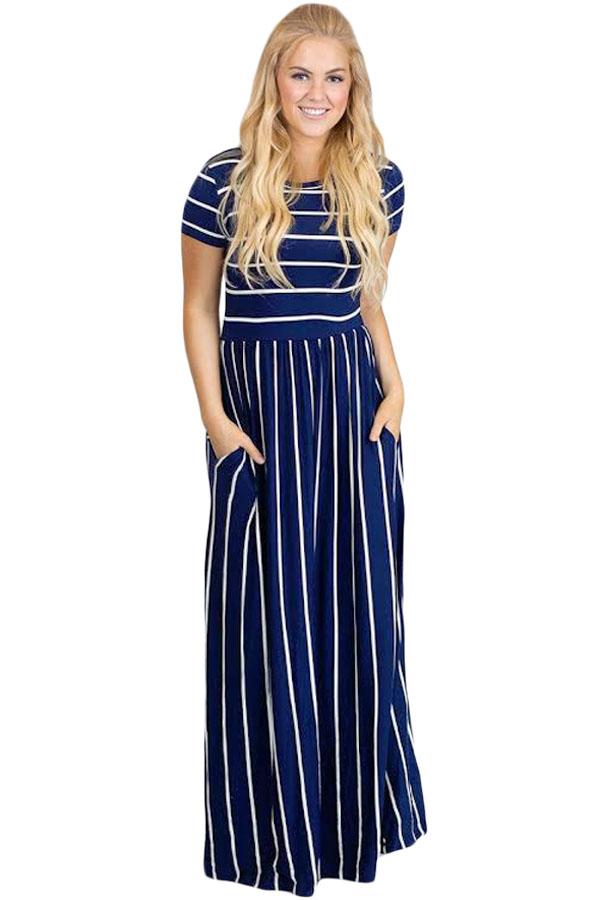 a2df48b76 Adrianna Papell Navy Blue Modest Short Sleeve Silk Dr Casual Maxi Dress.  Navy ...