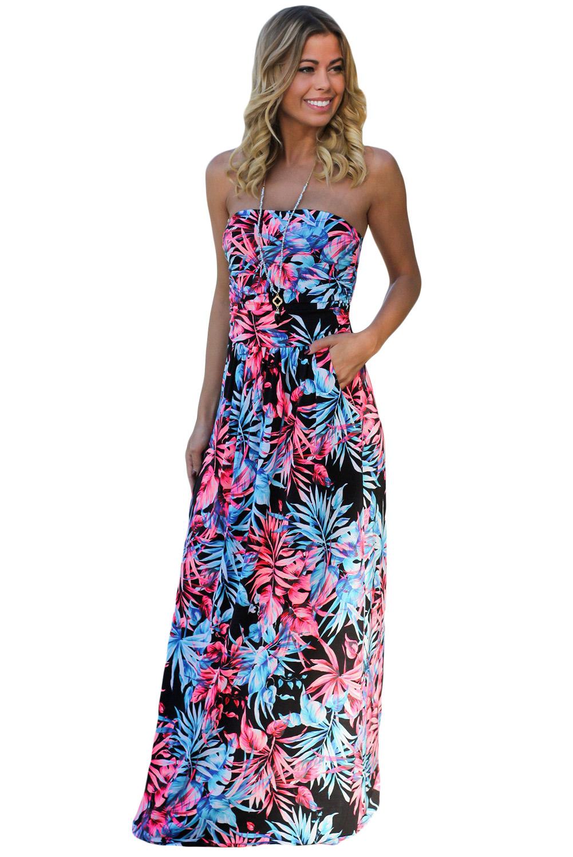 9ab900b70 Chic negro neón rosa tropical vestido maxi sin tirantes con bolsillos