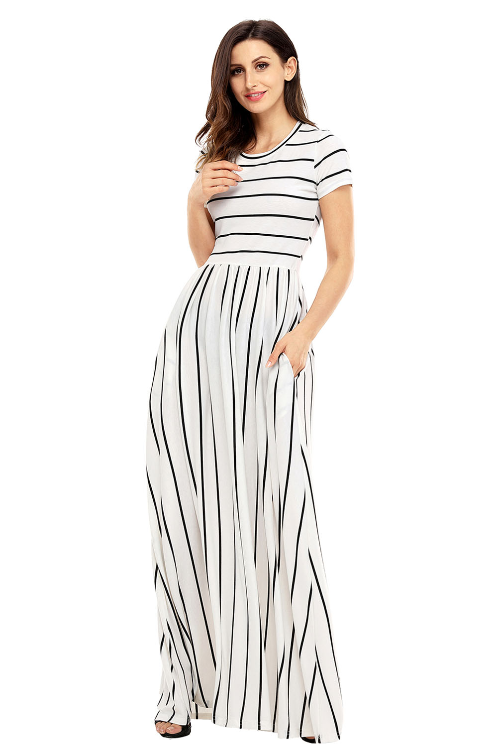 new york choose best detailed look Black Striped White Short Sleeve Maxi Dress