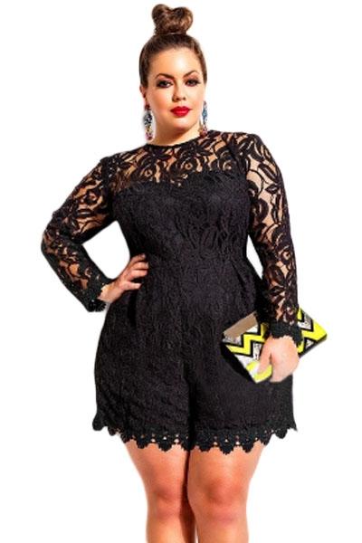 Black Plus Size Long Sleeve Lace Romper