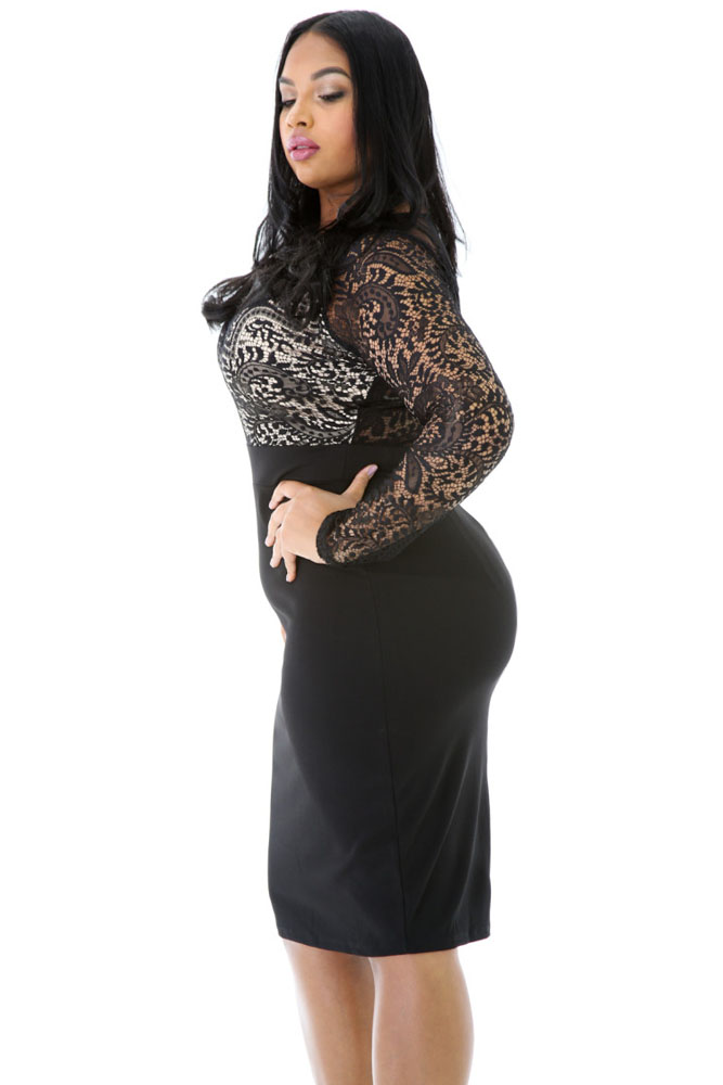 Long Sleeve Lace Top Plus Size Dress