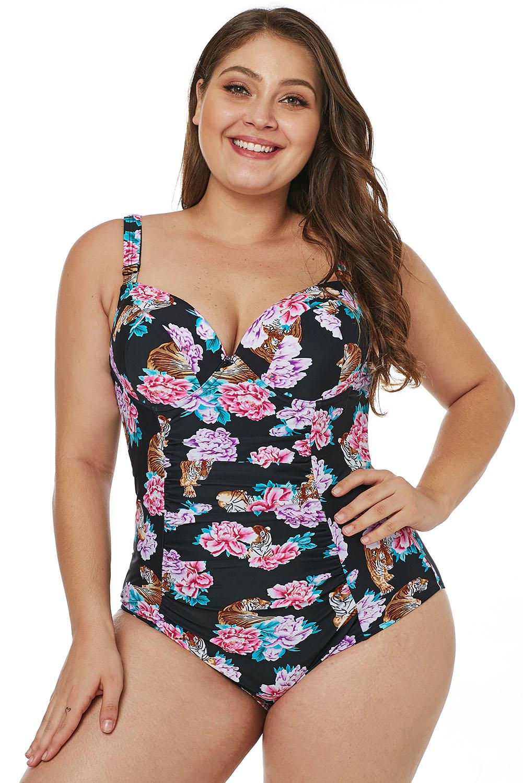 ee35d2ffea3fdb Wholesale Plus Size Swimwear, Cheap Black Tiger Floral Push-Up Plus Size  One-Piece Swimsuit Online