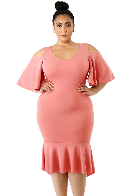 Salmon Flutter Sleeve Cold Shoulder Plus Size Dress