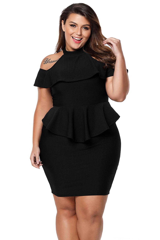 db8f7c1bfe948 Sexy Black Plus Size Ombro Frio Peplum Bodycon Vestido para Festa