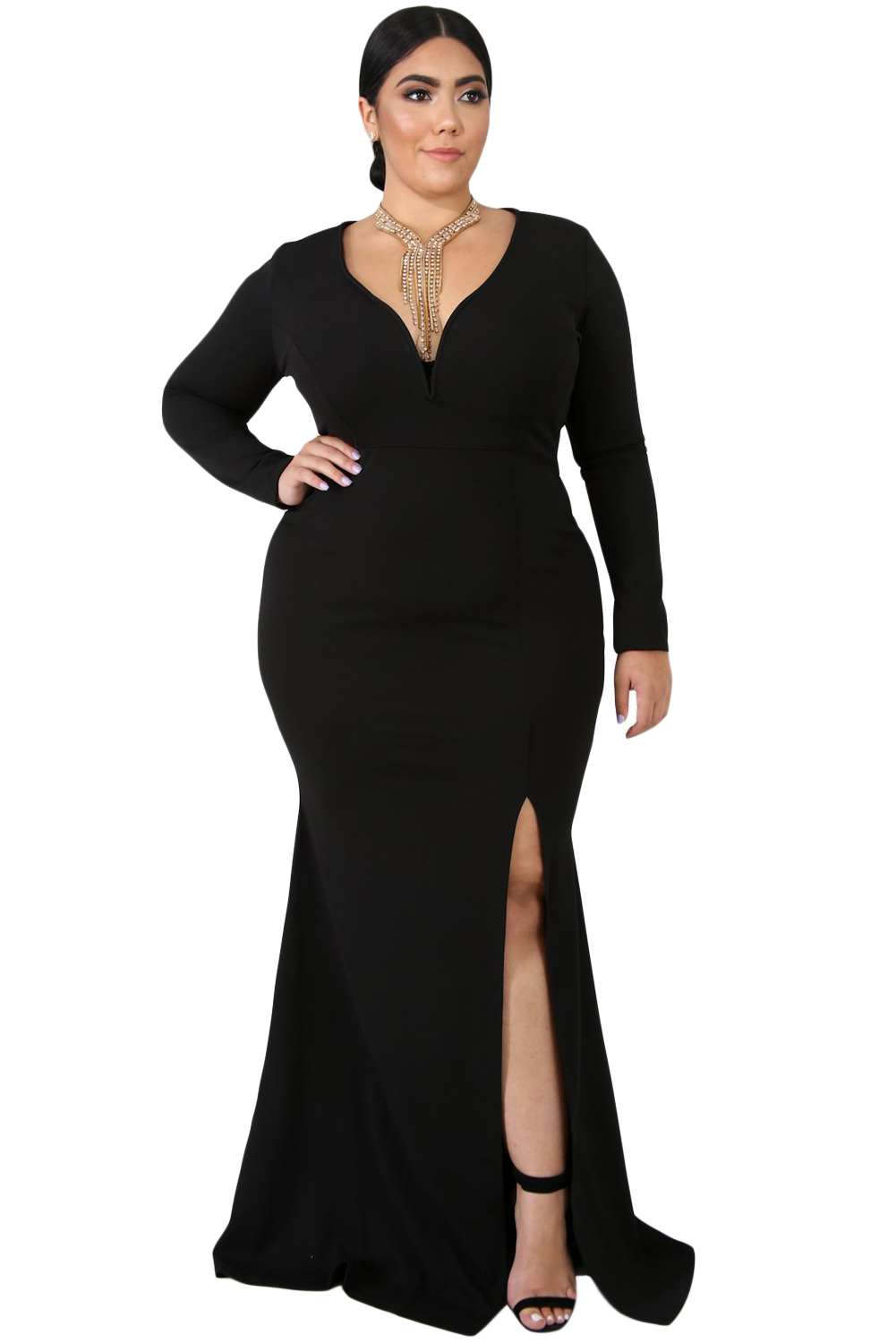 Black Slit Diva Plus Size Maxi Dress