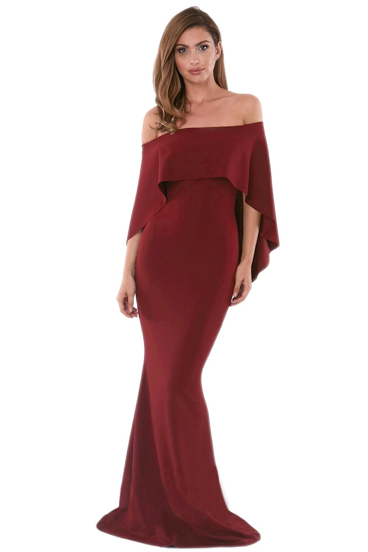 876e99d46984e6 Hot Burgund off Schulter Poncho Kleid Meerjungfrau Kleid