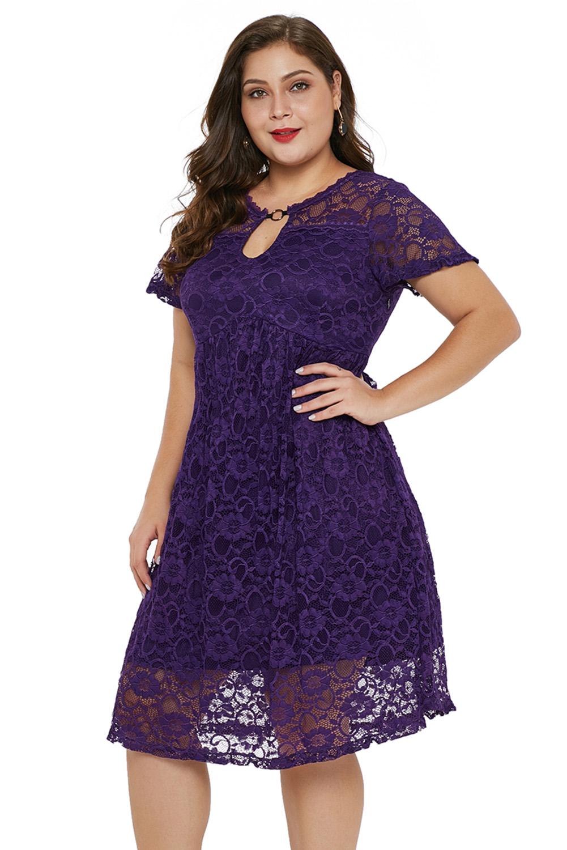 Purple Lace Trapeze Babydoll Mini Dress