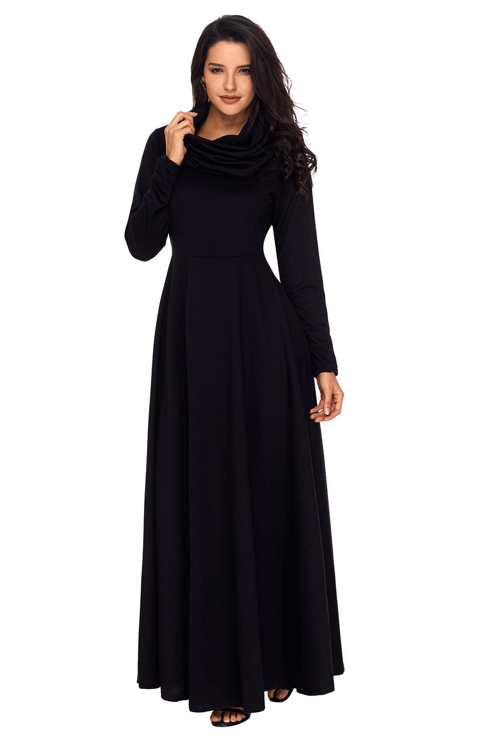 diversified latest designs great varieties search for original Black Cow Neck Long Sleeve Maxi Dress