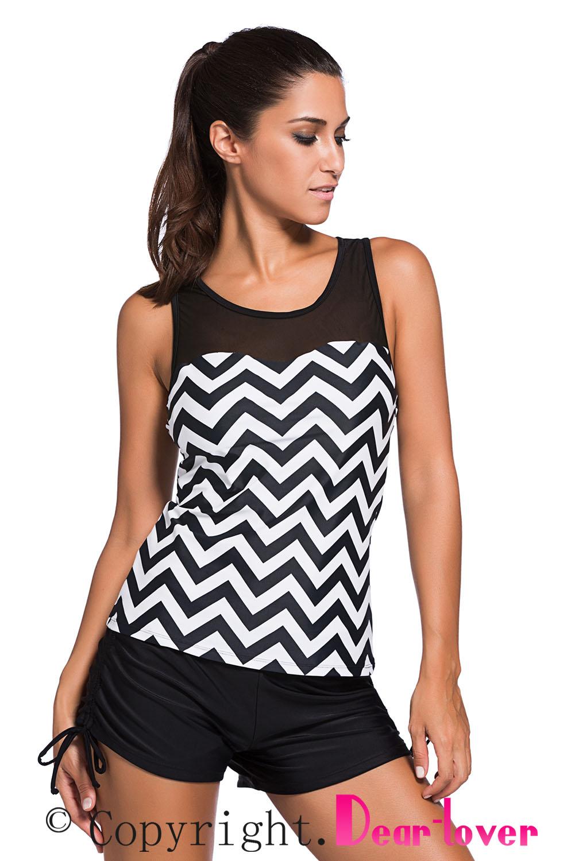 7d3e46b0b5f8a Cheap Black White Zigzag Print Mesh Splice 2pcs Tankini Swimsuit