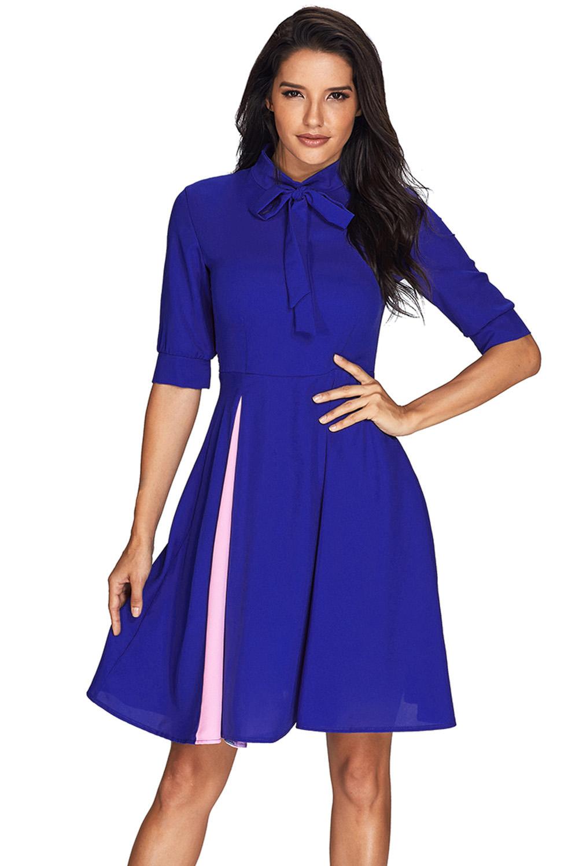 a71d2db54 العصرية كاذبة شق لصق الملكي الأزرق القوس التعادل اللباس خمر