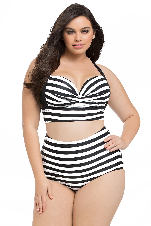 Bikini Badpak Ineen.Groothandel Dl Gestreepte Print Curvy Hoge Taille Bikini Badpak