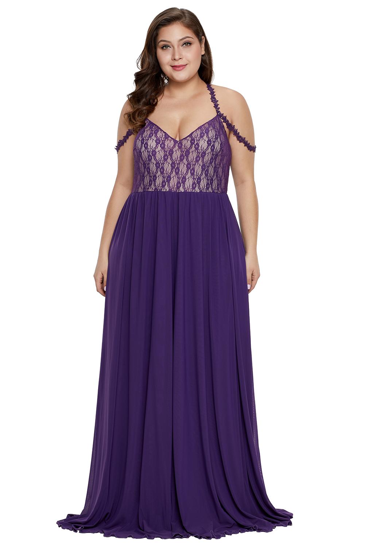 Purple Lace Bodice Hollow-out Plus Size Maxi Dress