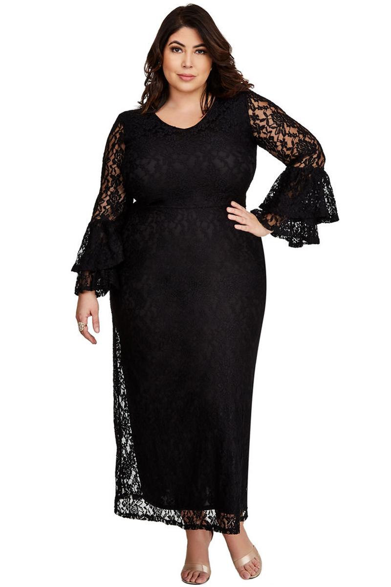Black Lace Bell Sleeve Plus Size Maxi Dress