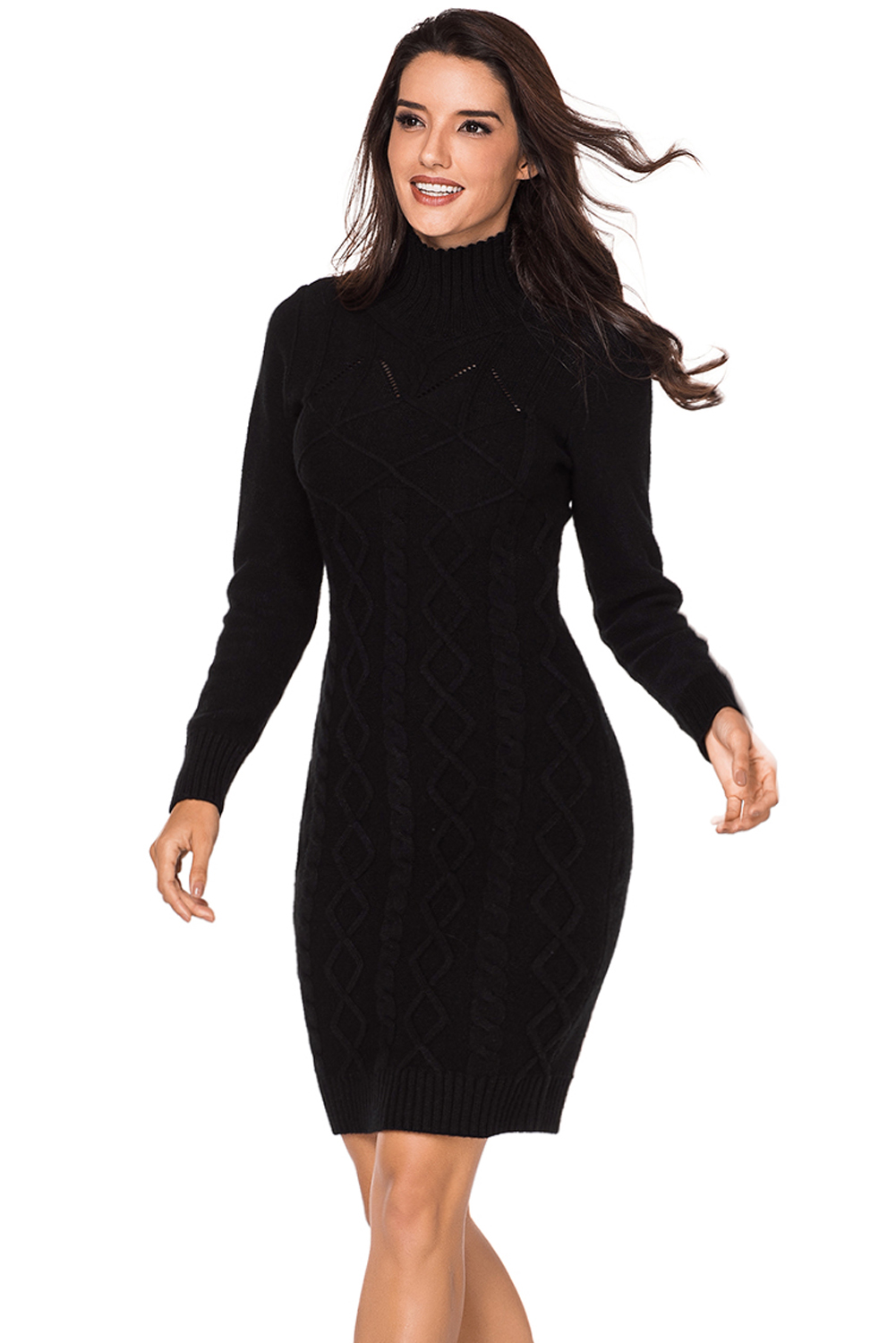 b4400e3e566 Affordable Black Cable Knit High Neck Sweater Dress from China