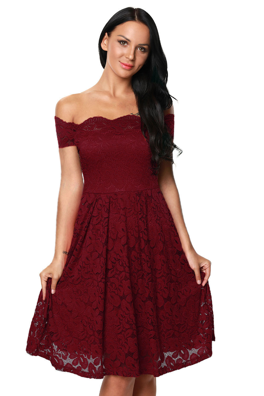 0451c6e1d986 Elegante Plus Size Vinho Scalloped Fora Ombro Vestido De Renda Queimado