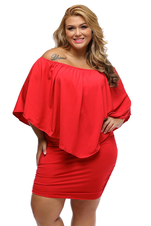 Plus Size Multiple Dressing Layered Red Mini Poncho Dress