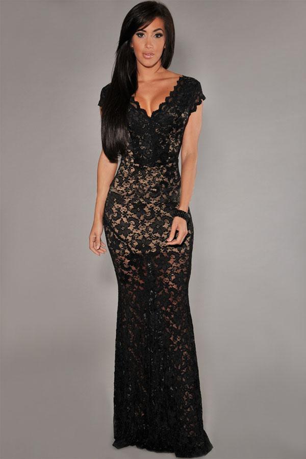 Vestido De Noche Con Espalda Descubierta Y Espalda Descubierta Con Encaje Negro